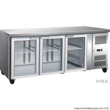 F.E.D GN3100TNG 3 Glass Door Gastronorm Bench Fridge