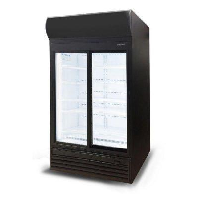 GM0980LS LED Sliding Glass Door 945L Upright Display Chiller with Lightbox