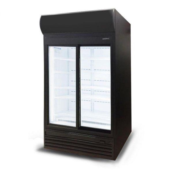 GM0980LS LED Sliding Glass Door 945L Upright Display Chiller with Lightbox