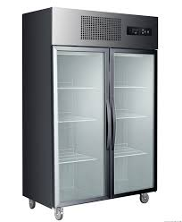 F.E.D SUCG1000B Double Door Upright Display Fridge (Black)