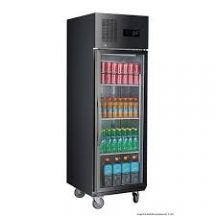 F.E.D SUCG500B Single Glass Door Upright Fridge Black Stainless Steel