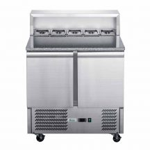 FED-XGNS1300E Three Door Counter Salad Prep Fridge with Marble Top