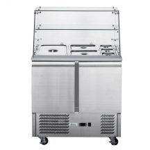 FED-XS900GC Two Door Salad Prep Fridge with Square Glass Top