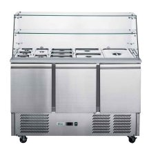 FED-XS903GC Three Door Salad Prep Fridge with Square Glass Top