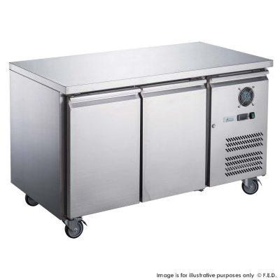 FED-XUB6F13S2V 1360mm Wide 600mm Deep S/S Two Door Underbar Counter Freezer