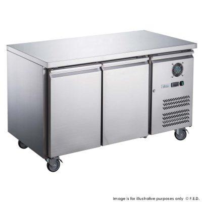 FED-XUB7F13S2V 1360mm Wide 700mm Deep X S/S Two Door Underbar Counter Freezer