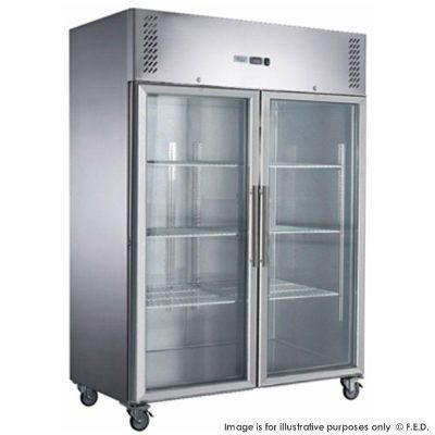 FED-XURF1410G2V X S/S Double Split Door Display Upright Freezer