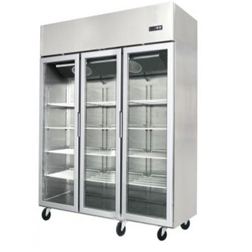 Jono JUFT1500 1500 Litre Commercial Upright Display Freezers Three Door Stainless Steel