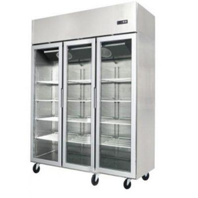 Jono JUMT1500G 1500 Litre Commercial Three Door Display Upright Fridge Stainless Steel