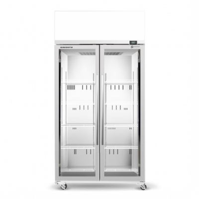 SKOPE TME1000N-AC 2 Glass Door Display or Storage Fridge, Lit Sign