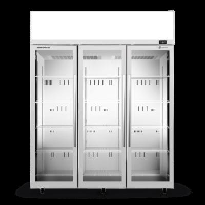 SKOPE TME1500N-AC 3 Glass Door Display or Storage Fridge, Lit Sign