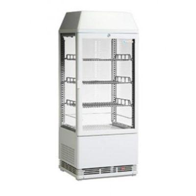 ICS Pacific Venice 4 Sided Glass Countertop Display Fridge with Illuminated Canopy