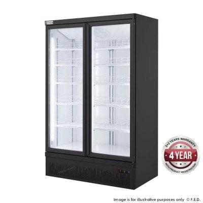 FED LG-1000BGBMF Double glass door colourbond upright freezer - Capacity: 960L